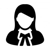 Lawyer icon vector female user person profile avatar symbol for law and justice in flat color glyph pictogram illustration